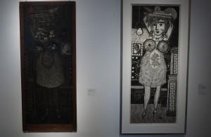 Ramona i xylo-collage-relief. Själva tryckformen syns till vänster.