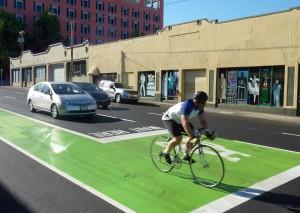 Det är ingen risk att man missar cykelbanorna i Portland.