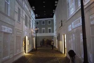 Rekonstruerad gata på det nya judiska museet i Warszawa.
