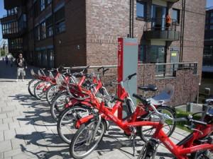 Lånecyklarna är gratis den första halvtimmen.