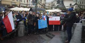 Ukrainsk protest i Krakow.